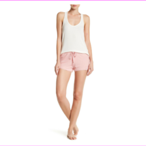 PJ SALVAGE Floral Crochet Ribbed Knit Shorts in Rose, Large - $12.08