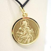 18K YELLOW GOLD SCAPULAR OUR LADY OF MOUNT CARMEL SACRED HEART MEDAL 15mm CARMEN image 4
