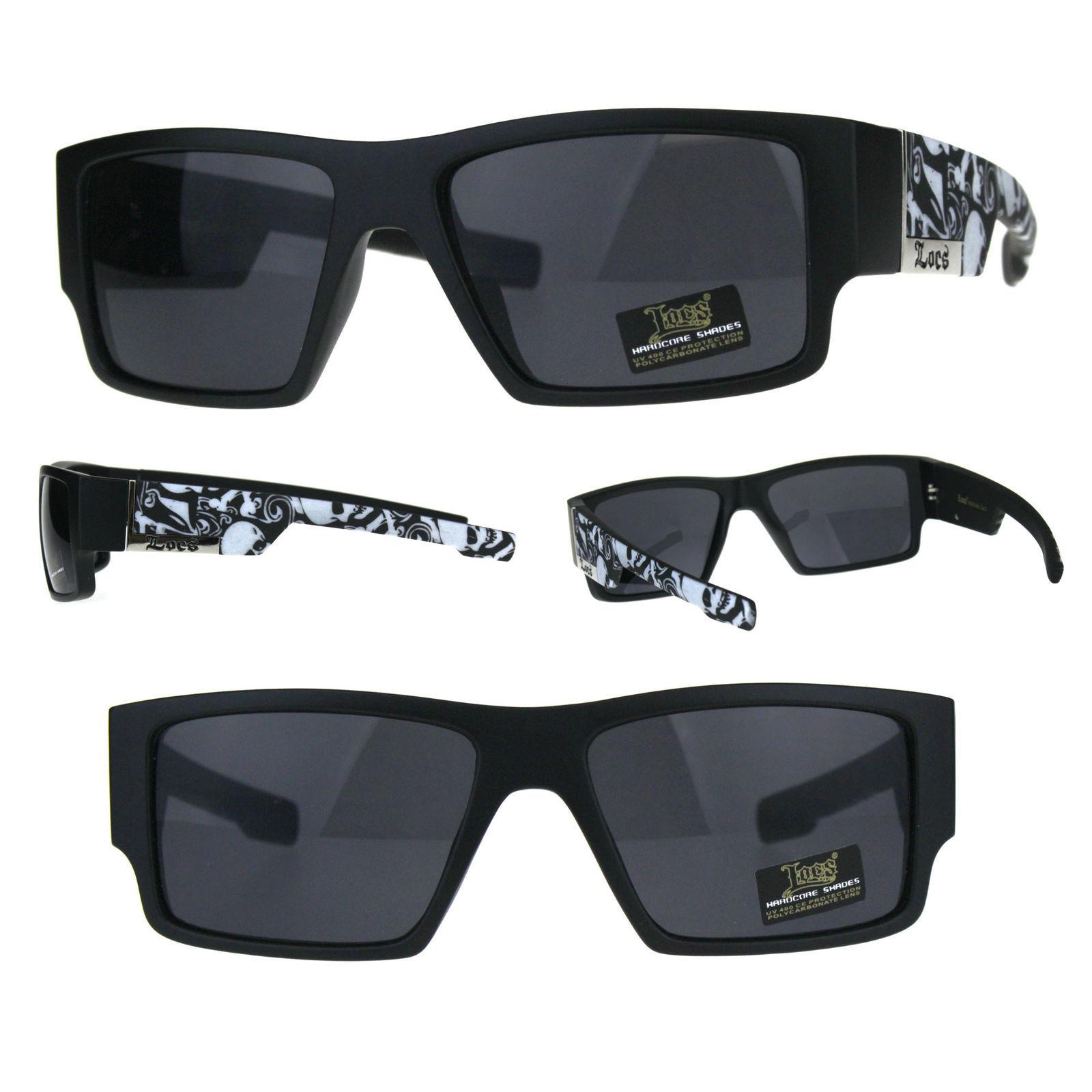 643a64d0ae3 S l1600. S l1600. Previous. Locs Mens Gangster Skull Print Arm Plastic Rectangular  Sunglasses All Black