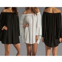 Womens Boho Sexy Long Sleeve Chiffon Lace Off Shoulder Short Mini Dress Long Top