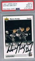 1991 Upper Deck #437 Wayne Gretzky PSA 9 / 9 Auto  - $445.45