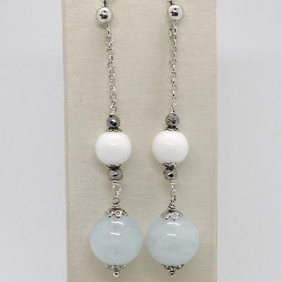 EARRINGS SILVER 925 RHODIUM PLATED WITH AQUAMARINE NATURAL AND AGATE WHITE