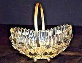 Heavy Glass Basketwith Metal Carrier with handle / Leaf DesignAA18-11912 Vint image 3