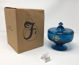 Fenton Art Glass Indigo Blue Fish Hand Painted Covered Box / Dish- New! #4290 3U - $99.50