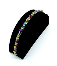 Vintage Sterling Multi Gemstone Garnet Peridot Topaz Citrine Tennis Bracelet 6.5 - $107.99