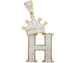 """Tilted Crown Initial Letter """"H"""" White Diamond Pendant 14K Gold Plated 925 Silver - $146.99"""