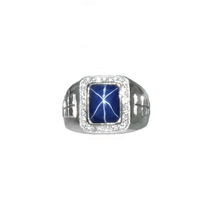 14k White Gold Ring with Star Sapphire and Diamonds  - $1,822.00