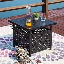 Top Space Outdoor Umbrella Side Table Black Square Tables Stand Patio Bi... - $76.94