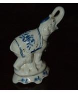 VINTAGE PORCELAIN BLUE & WHITE ELEPHANT FIGURINE  TRUNK UP GOLD GILT HAN... - $22.99