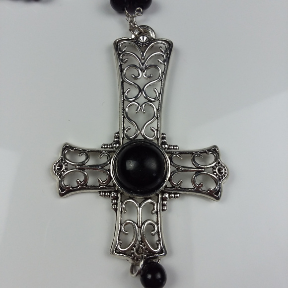 Inverted cross & pentacle beaded rosary