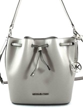 AUTHENTIC NEW NWT MICHAEL KORS $398 EDEN GREY LEATHER MED HOBO CROSSBODY... - $148.00
