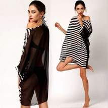 Oversized Stripes Chiffon Women Swimwear Cover Up - $16.98