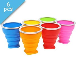 Set of 6 Collapsible Cup with Lid 6Oz Silicone Foldable Travel Drinking - £21.41 GBP