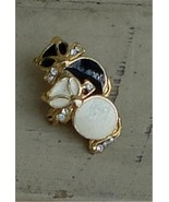 Nice Gold Tone Enameled Pin, Black and White, With Faux Diamond Stones VGC - $9.89