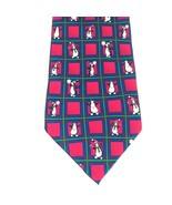 Hallmark Christmas Holiday Traditions Penguin Tie Red & Green 100% Silk... - $24.14