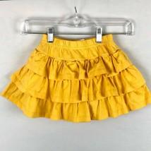 Hanna Andersson Girls 110 Yellow Ruffled Skirt Skort Built in Shorts  - $15.80