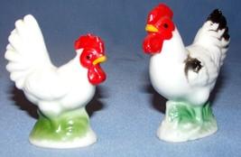 Vtg Porcelain Miniature Chicken Rooster Farm Decoration 2 pcs Rustic Hen... - $18.35