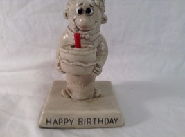 Happy Birthday Vintage Statue Russ 1970's Man Holding Cake with Candle CUTE - $7.29
