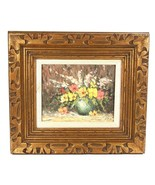 Still Life  Oil on 8 x 10 Canvas Board Signed Gold Gilt Frame  - $123.75