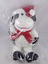 "Animal Fair Cow Christmas Plush Ball Bros 15"" Black White Santa Hat Scar... - $17.95"