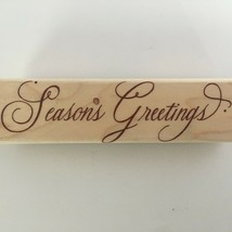 Hero Arts Stamp Seasons Greetings Holidays Cursive Christmas Card Making Craft - $5.40