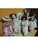 """Lot 10 Vintage 8-10"""" Porcelain / Bisque dolls 1 Dianna Effner 1 Avon 8 u... - $49.49"""