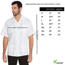 vkwear Men's Guayabera Cuban Beach Wedding Casual Short Sleeve Dress Shirt image 2