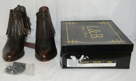 Lucky And Blessed SH 11 Dark Brown Leather Boots Fringe Metal Studs Size 9 image 1