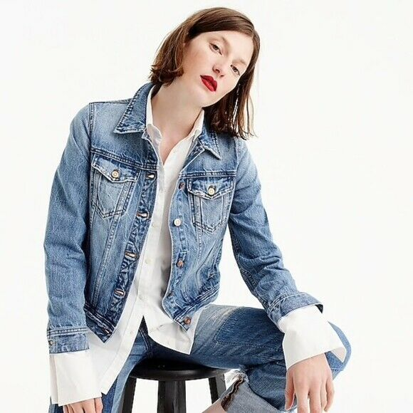 "Primary image for J. Crew Women's Blue ""Classic Denim Jacket"" with Cactus Patch Medium"