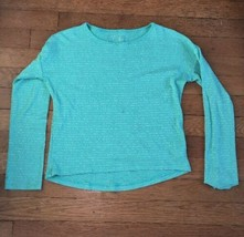 * gap kids green silver stripe long sleeve tee shirt  8 - 9 medium girl - $4.95