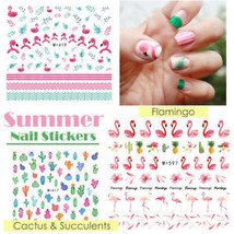 Summer Essentials! Nail Stickers Water Transfer Flamingo Cactus Succulen... - $6.50