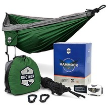Browon Lightweight 2 Person Double Camping Hammock Includes Headlamp, Tr... - $52.99