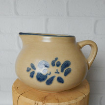 Vintage Pfaltzgraff Folk Art Tan Sauce Gravy Boat Blue Floral Pitcher Stoneware  - $14.99