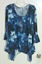 Bobbie Brooks Blue with White Ruffle Sleeve Top with Necklace - Size: M - $9.67
