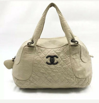 CHANEL Coco Rider Aged Calfskin Large Bowler Bag, Beige, $3,500 - $2,178.00