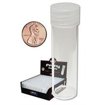 NEW BCW COIN TUBES - PENNY - BOX OF 100 - $48.85