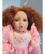 "PREMIERE DANBURY MINT  Porcelain Doll 14"" RED CURLY HAIR   - $29.70"