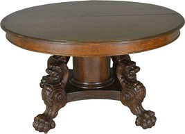 "17677 Victorian Oak Lion Body Base 54"" Dining Table – Horner Style - $2,450.00"