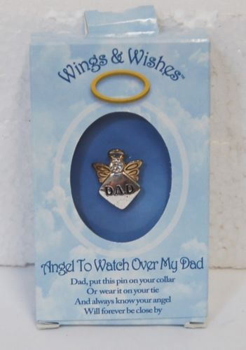 DM Merchandising Wings Wishes WGW3WODAD Gold Colored Dad Angel Silver Heart