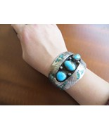 Old Pawn Navajo Turquoise /Turquoise Coral Chip Inlay Sterling Cuff 96.1... - $320.00