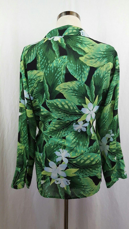 Button Down Dress Shirt Laura Scott Size 18 Sheer Green Day Lilly Print Top