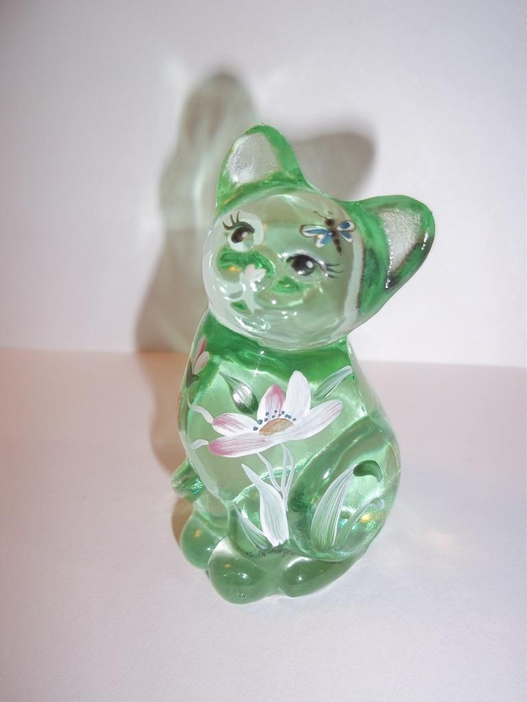 "Fenton Glass Willow Green ""Youre The Best"" Mini Kitten Cat Figurine"