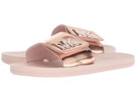 Michael Kors MK Women's Slide Slip On Sandals Shoes Mirror Metallic Rose Gold