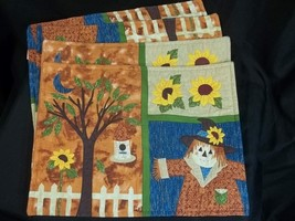 Fall Thanksgiving Placemats Scarecrow Sunflowers 17.5 x 13 - $16.78