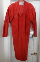 G-III Suede Coat Dress Full Length Retro Bonwit Teller Red Women's L Vin... - $69.95