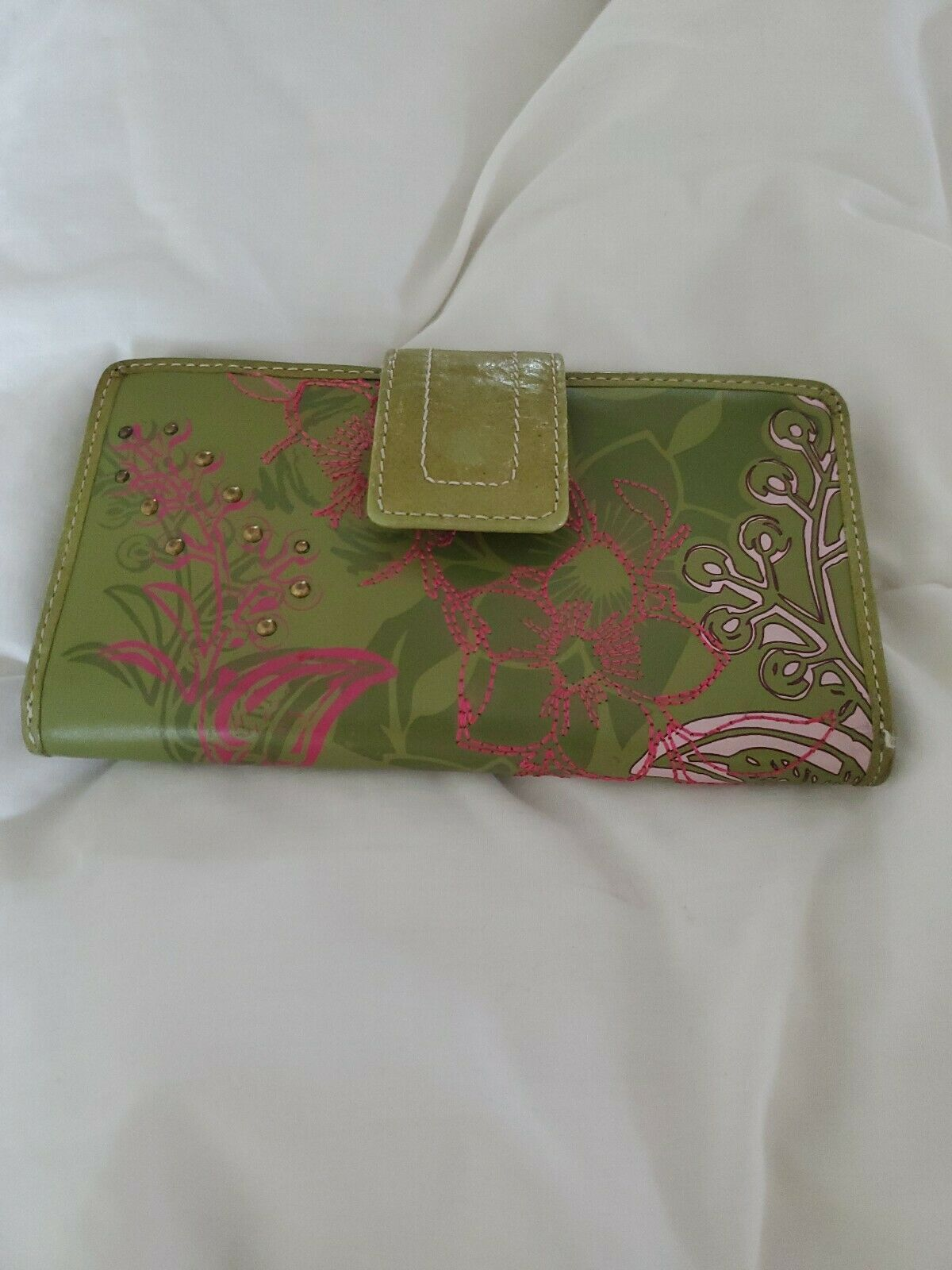 Fossil Leather Green Multicolor Floral Bi-Fold  Checkbook Wallet image 8