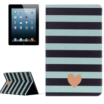 For iPad 4/3/2 Heart Pattern Horizontal Flip Leather Case with Holder - $16.90