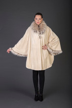 Luxury gift/Beige Beaver Fur Coat/Fur jacket/Fur cape  With collar/ Wedding,or a - $1,450.00