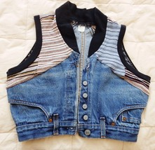 LEVI'S Denim Vest Cropped Hand Crafted Recycled Urban Boho Size Small - $44.95
