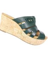 Clarks Artisan Women's Black Leather Cork Wedge Sandals Shoes Size 9.5 M - $39.79